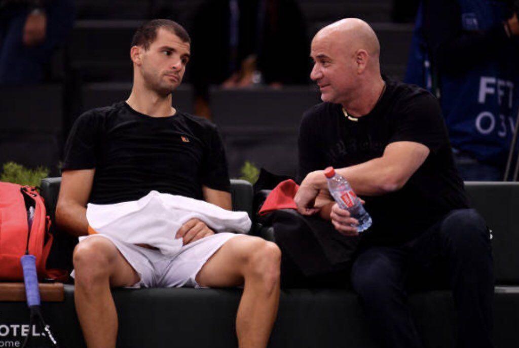 Andre Agassi con Grigor Dimitrov