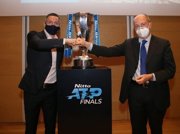l presidente dell'ATP Andrea Gaudenzi con il presidente della FIT Angelo Binaghi (foto Sposito)