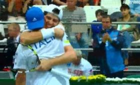 Fabio Fognini e Simone Bolelli esultatno dopo il successo in doppio