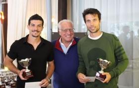 Il vincitore del torneo di pre-qualificazioni maschile Walter Trusendi (primo a destra), con il patron del Quanta Club Umberto Quintavalle e il finalista Alberto Brizzi (foto Quanta Club)