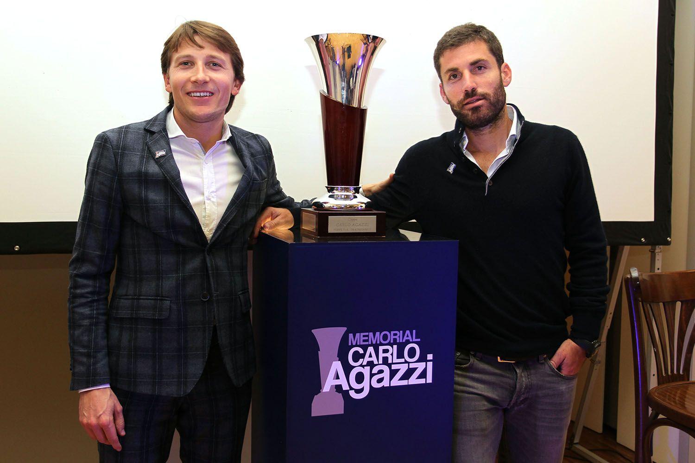 Andrea Agazzi e Flavio Cipolla col trofeo del Memorial Carlo Agazzi, vinto dal romano nel 2013 e nel 2014 -  (foto Calabrò)