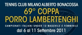 il Tennis Club Milano Alberto Bonacossa ospita la 69° Coppa Porro Lambertenghi, Campionati Italiani Under 12 maschile e femminile.
