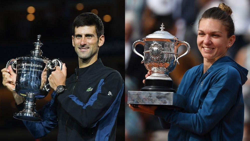 Novak Djokovic e Simona Halep nella foto