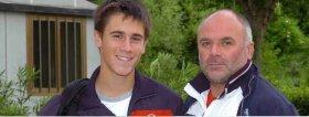 Djordje Djokovic, fratello del numero 1 al Mondo 'Nole', con il suo trainer Miki Vukovic.