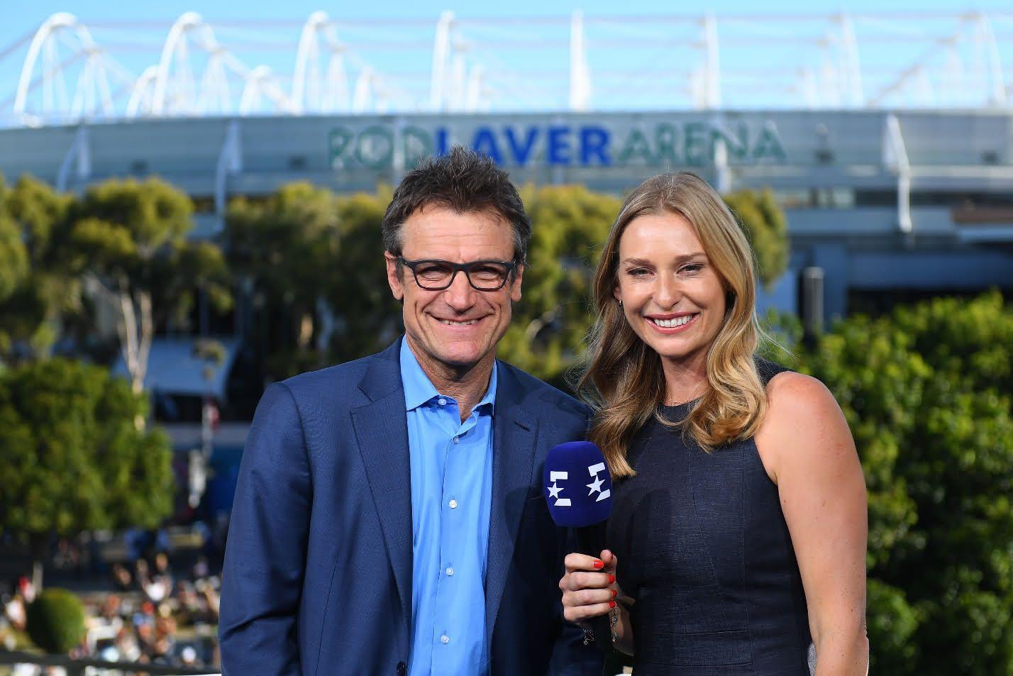 volti internazionali di Discovery, Mats Wilander e Barbara Schett, dallo studio Eurosport di Melbourne, Australian Open