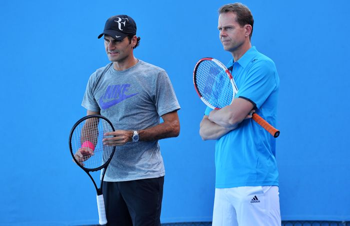 Stefano Edberg quando allenava Roger Federer