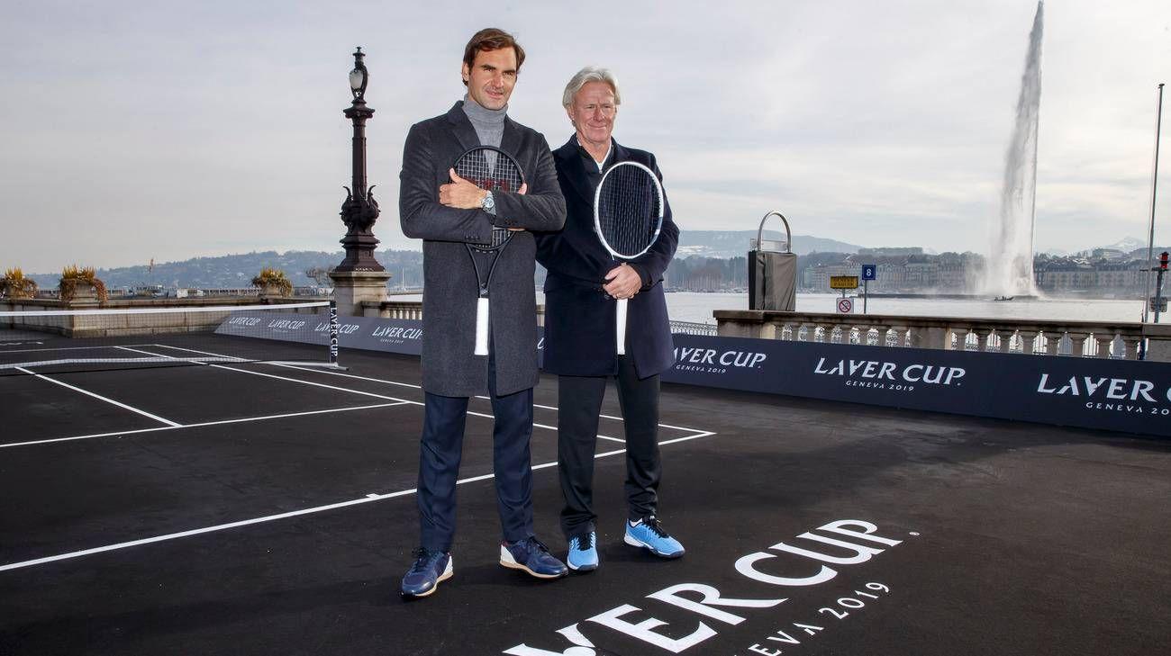 Roger Federer e Bjorn Borg nella foto