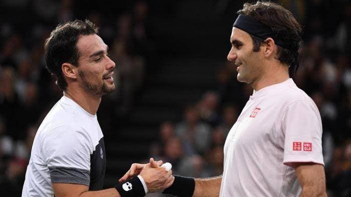 Fabio Fognini con Roger Federer
