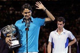Roger Federer alla premiazione dell'edizione 2010 degli Open d'Australia.