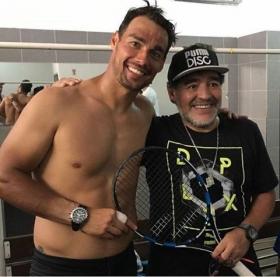 Fabio Fognini con Diego Armando Maradona