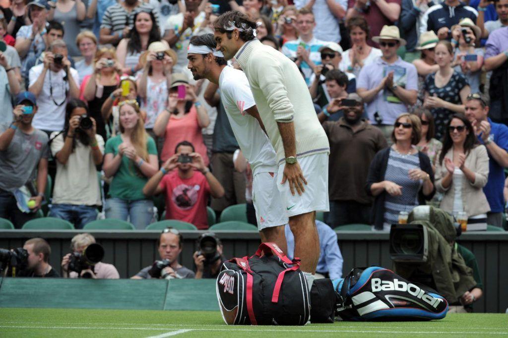 Fabio Fognini e Roger Federer nella foto