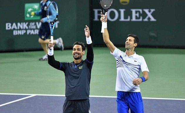 Fabio Fognini e Novak Djokovic nella foto