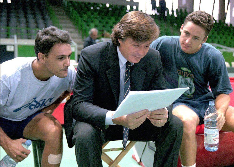 Nella foto Andrea Gaudenzi, Renzo Furlan e Adriano Panatta