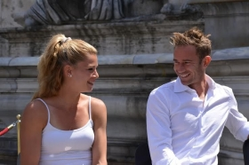 Camila Giorgi e Filippo Volandri impegnati ieri nel sorteggio - Foto Antonio Fraioli