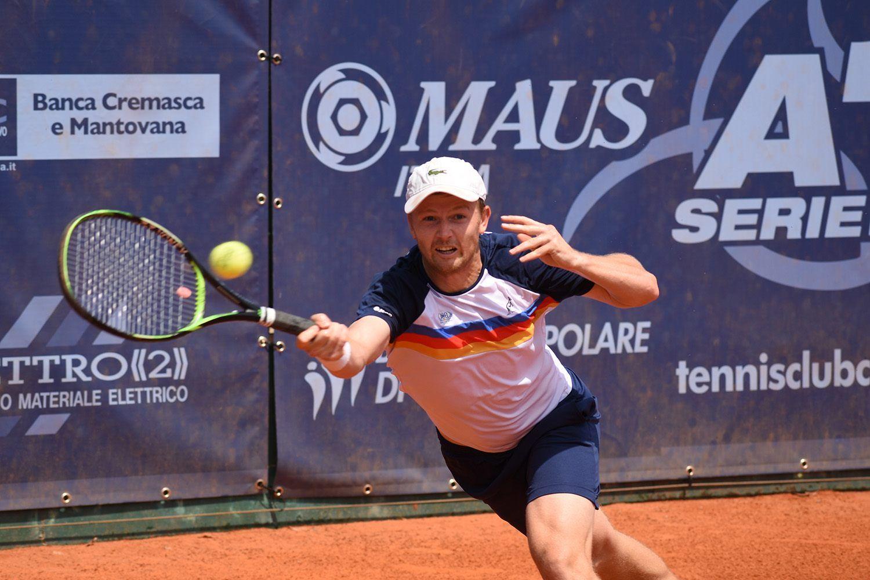 Andrey Golubev, protagonista in singolare e in doppio, vinto in coppia con Vincent Ruggeri, nella semifinale di andata di A1 tra Tc Crema e Park Genova (foto GAME)
