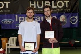 La premiazione del secondo Trofeo Città di Sondrio, con il vincitore Laurynas Grigelis (sinistra) e il finalista Quentin Halys - Foto Panunzio