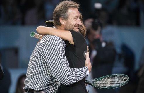 L'addio di Daniela Hantuchova al tennis. L'ultimo punto giocato con il suo idolo Miloslav Mecir - Foto TASR