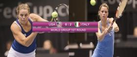 Livescore dettagliato dell'incontro di Fed Cup tra Usa vs Italia