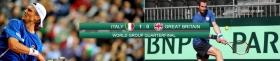 Livescore dettagliato dell'incontro di Davis Cup tra Italia e Gran Bretagna