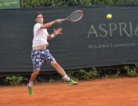Gianluca Mager, 21enne sanremese, è l'unico italiano vittorioso nel Day 1 del main draw all'Aspria Harbour Club -  (foto Makers)