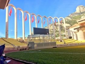 Grigor Dimitrov si allena nello stadio del Monaco