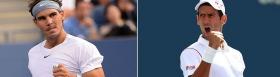 Rafael Nadal e Novak Djokovic impegnati nella finale degli Us Open