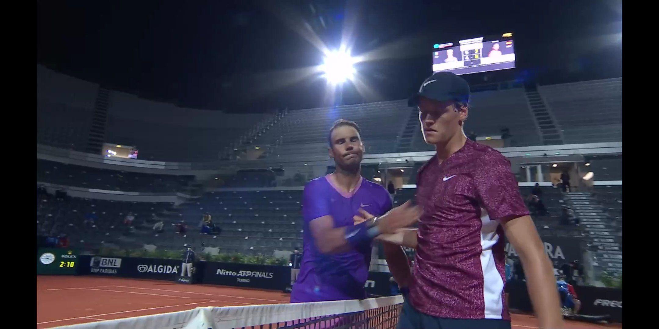 Rafael Nadal e Jannik Sinner nella foto