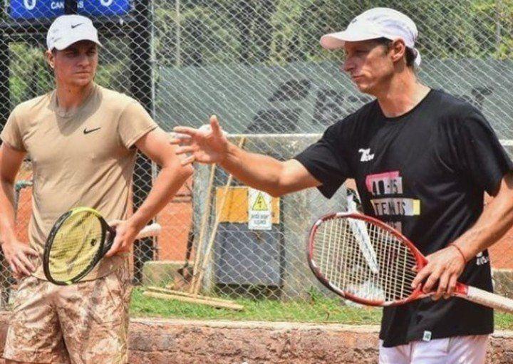 David Nalbandian in campo con Kemanovic