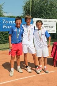 La squadra italiana maschile, sconfitta in finale. Da sinistra, Bellucci, Vianello e De Maio.- (Foto Alvaro Maffeis).