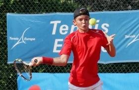 Lo svizzero Jerome Kim, a segno in singolare e doppio contro l'Italia -  (foto Alvaro Maffeis).