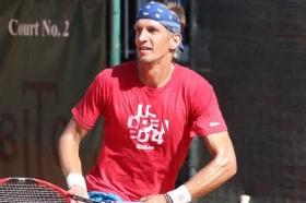 Jarkko Nieminen, numero 70 del mondo, al lavoro sui campi del Bordighera Lawn Tennis Club - (foto BLTC).