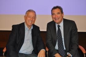 Sergio Palmieri (a sinistra), eletto presidente del Comitato Regionale Lombardo Fit per il quadriennio 2017-2020, con il vice-presidente della Federtennis nazionale Gianni Milan