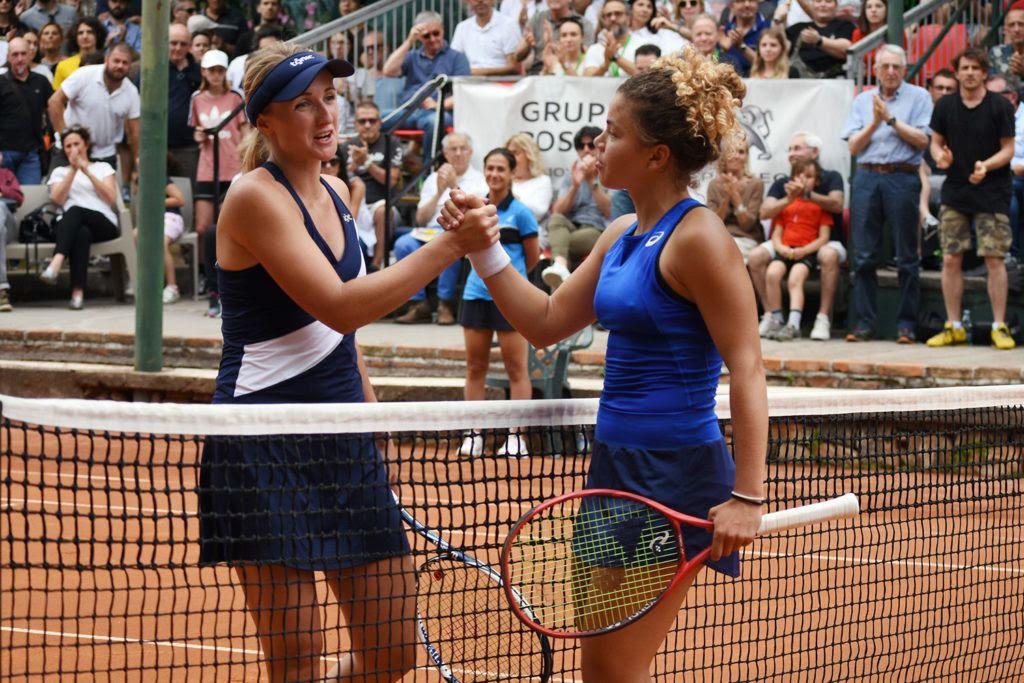 Jasmine Paolini (destra) e Diana Marcinkevica, finaliste nel 2019 agli Internazionali di Brescia. L'edizione 2020 non potrà giocarsi nelle date prestabilite, a causa del blocco al circuito professionistico (foto GAME)