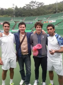 Il nostro amico Pierre insieme a Gianluigi Quinzi, Riccardo Ghedin e Claudio Grassi