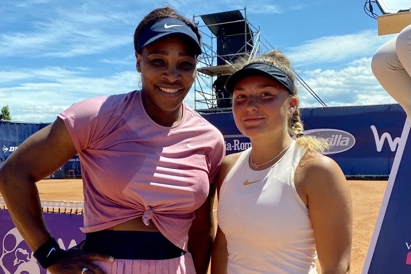Lisa Pigato con Serena Williams al termine del match nel torneo WTA Emilia Romagna Open di Parma