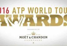 ATP World Tour Awards 2016: Ancora, ancora, ancora Roger Federer che viene premiato dai Fan per il 14 esimo anno consecutivo. Del Potro scalatore dell'anno