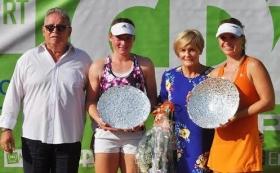 La premiazione del Trofeo Cpz. Da sinistra, il direttore del torneo Gianluigi Terzi, la finalista Tamara Zidansek, Alida Moioli di Cpz e la vincitrice Anne Schaefer