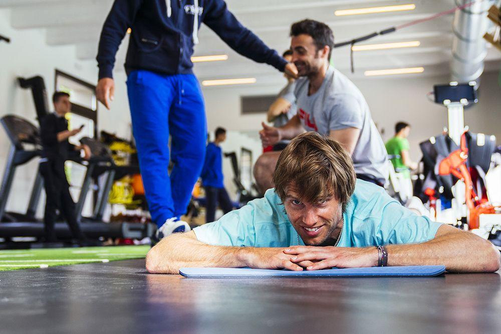 Andreas Seppi nella palestra del Piatti Tennis Center: il connubio Piatti-Sartori è un esempio meritorio in quanto a collaborazione tra tecnici - Foto Gabriele Lupo