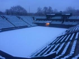 Così appare l'impianto di <strong>Wimbledon</strong> dopo l'abbondante nevicata che è caduta a Londra nelle ultime ore.