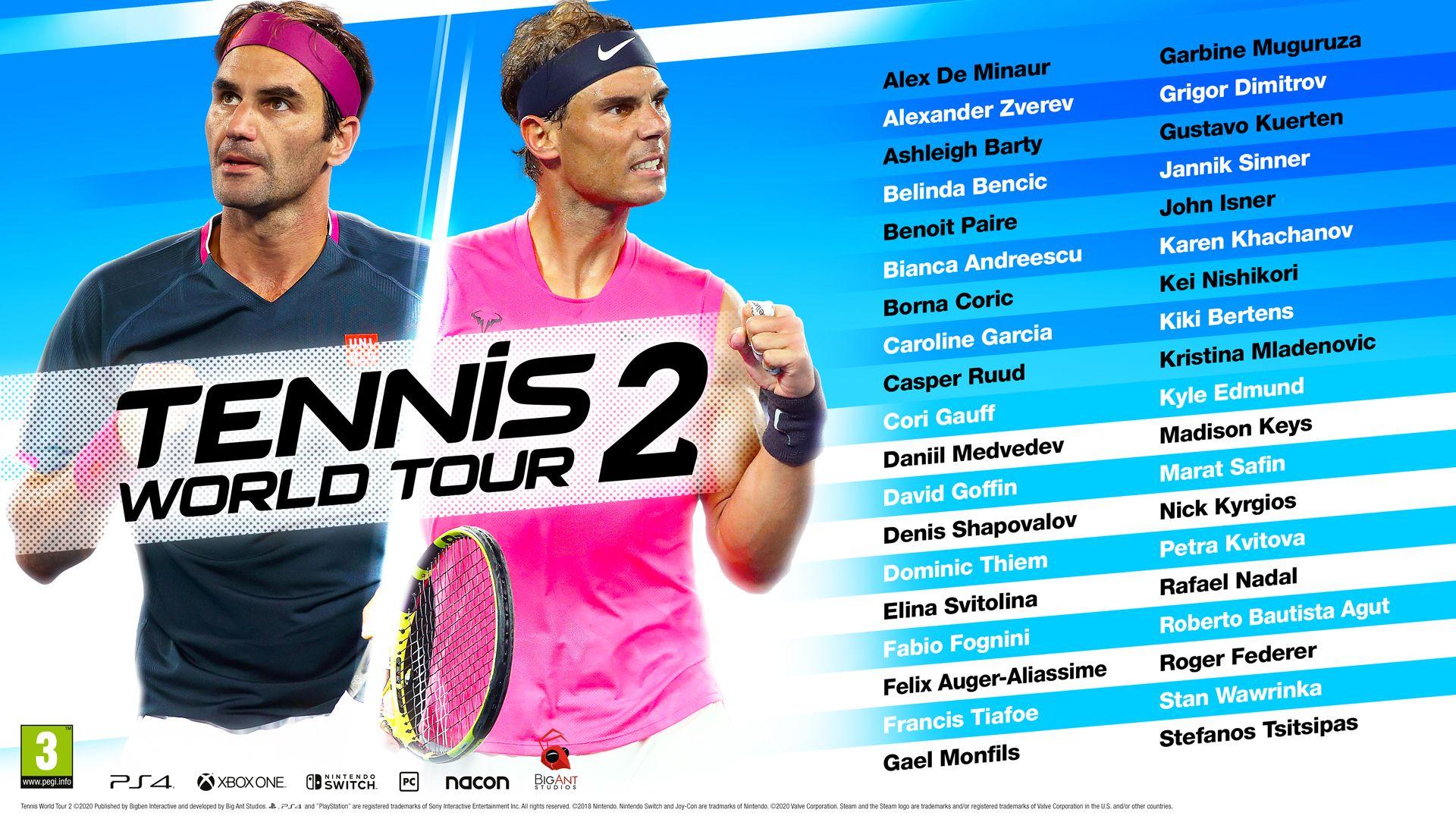 Tennis World Tour 2: Svelate le competizioni ufficiali. Domani esce il gioco