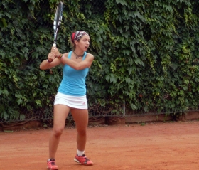 Katrin Tebaldini, classe 1995, ha passato il primo turno di qualificazioni battendo la testa di serie numero 5 Gamarra Martins (Foto Giorgio Valleris)