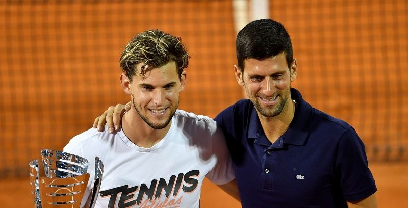 Novak Djokovic con Dominic Thiem nella foto