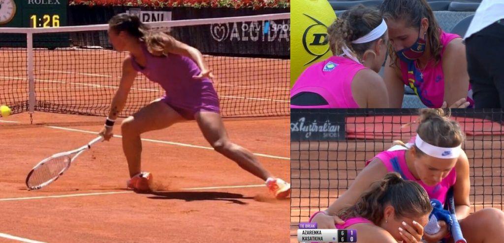 Kasatkina prende una storta al piede, si arrende e Azarenka brilla per il fair play (Video)