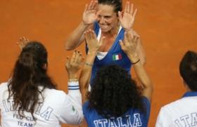 Roberta Vinci decisiva insieme a Sara Errani nella vittoria di primo turno contro gli Stati Uniti