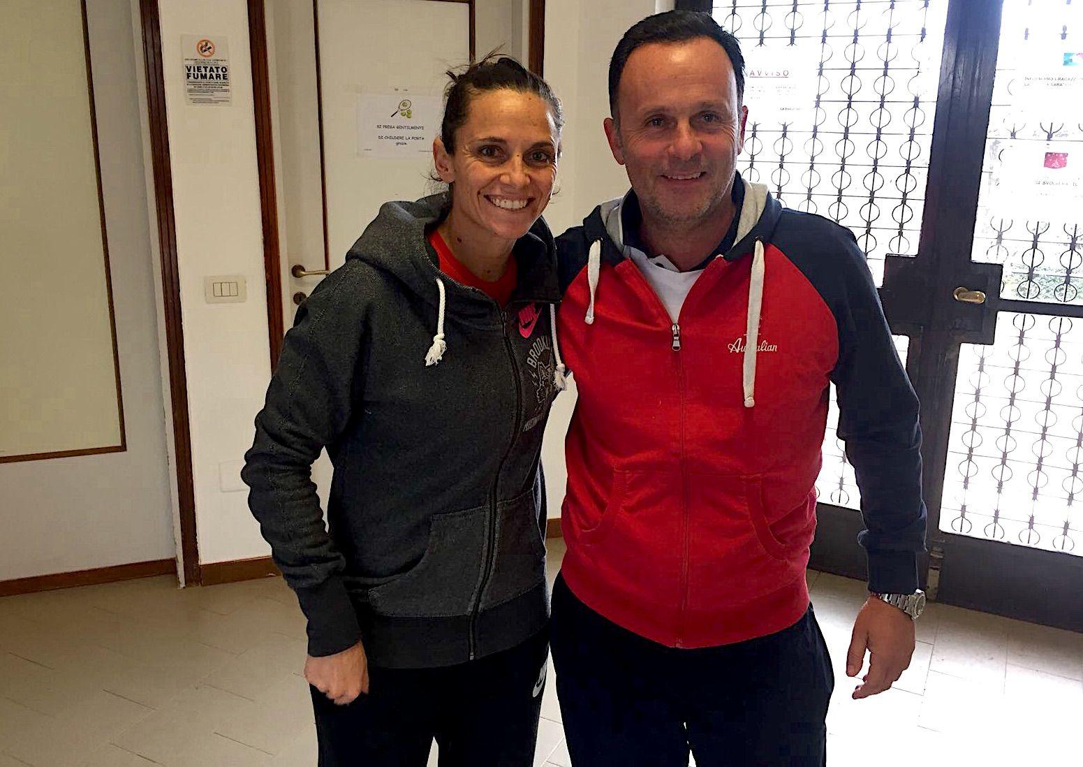 La tarantina Roberta Vinci con il direttore operativo dello Junior Tennis Milano Filippo Maltempi
