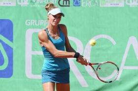 La tedesca Anna Zaja, ottava testa di serie. Per lei esordio convincente a Bagnatica: 6-2 6-4 alla lettone Marcinkevica - Foto San Marco